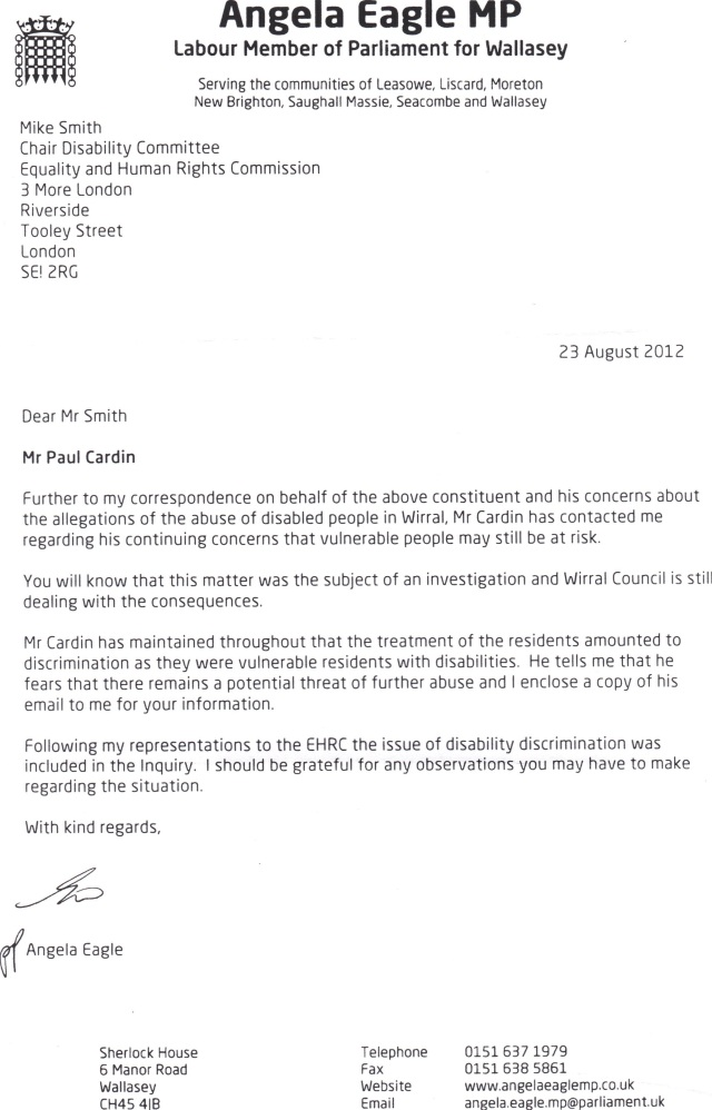 angela eagle smith letter 23rd Aug 2012