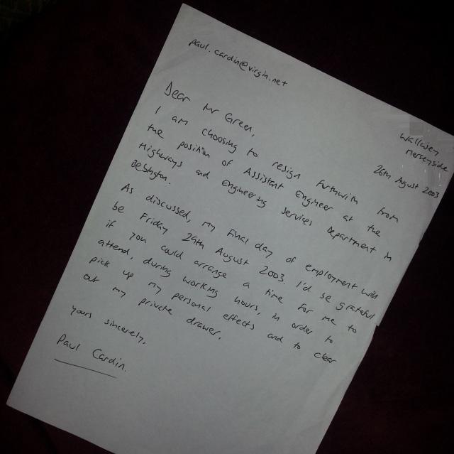 Dear David Green - I resign