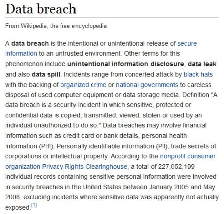data breach definition - 4th September 2014