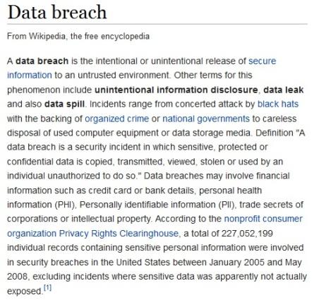 data breach definition - 4th September 2014