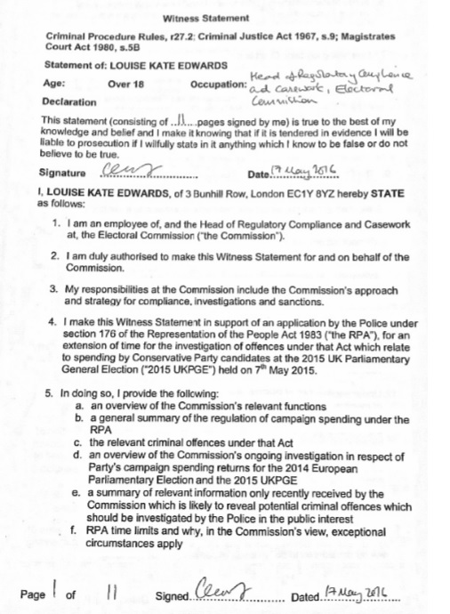 electoral commission statement page 1