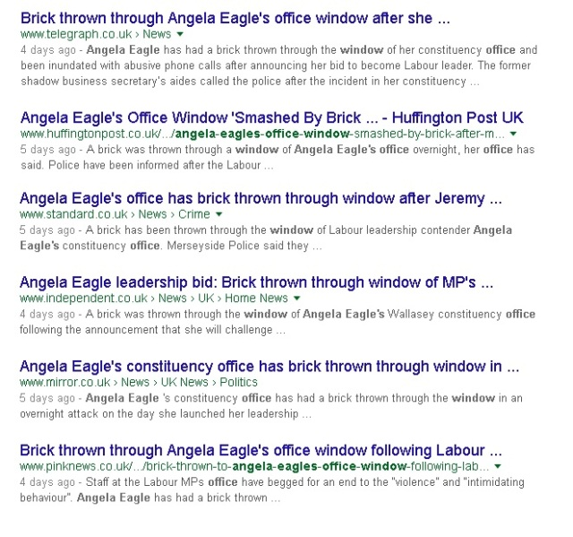 angela eagle brick thrown through window news items