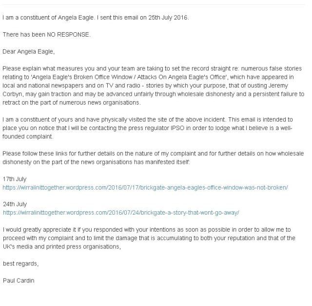 email to angela eagle dated 25th July 2016
