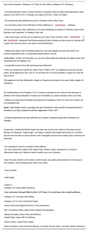 linda keogh letter