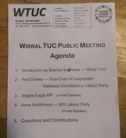 TUC meeting agenda Wallasey CLP