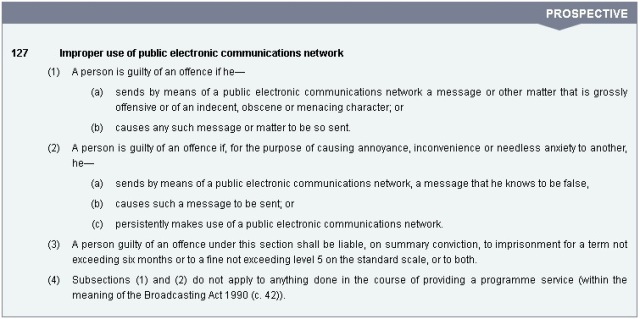 Section 127 Communications Act 2003
