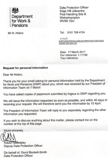 20 03 17 - DWP letter to Nigel Hobro