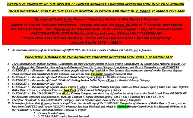 EXECUTIVE SUMMARY OF THE APPLIED I F LIMITED #QUIXOTE FORENSIC INVESTIGATION INTO VOTE RIGGING ON AN INDUSTRIAL SCALE 17 MARCH 2017 0600
