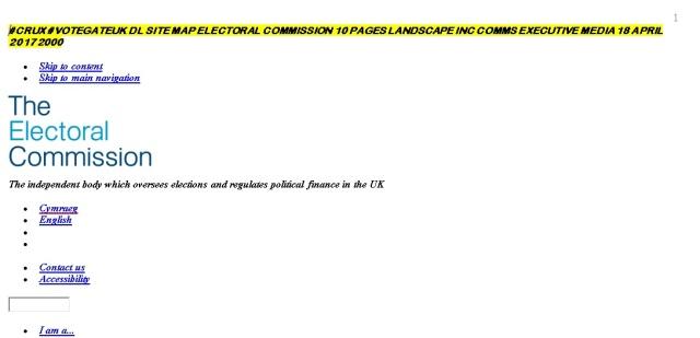 #Crux #VotegateUK DL Site Map Electoral Commission 10 Pages Landscape Inc Comms Executive Media 18 April 2012 2000