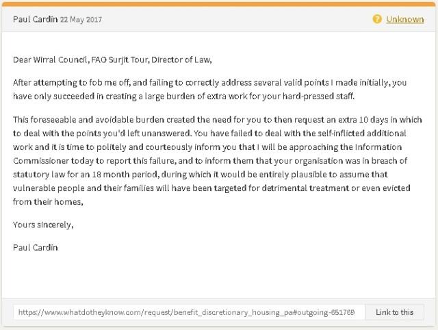 22 05 17 - Wirral Council failure on DHP FOI request