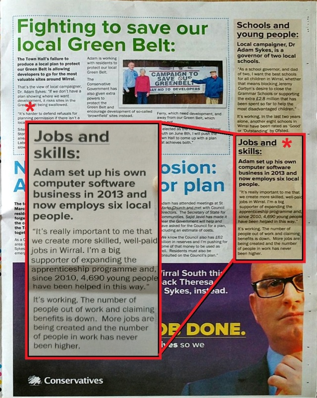 adam sykes leaflet with jobs inset