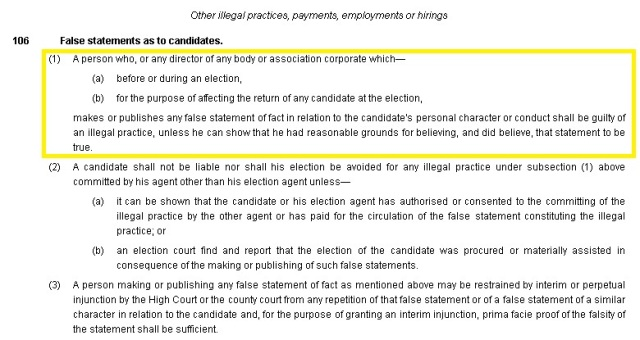representation of the peoples act excerpt - false statements