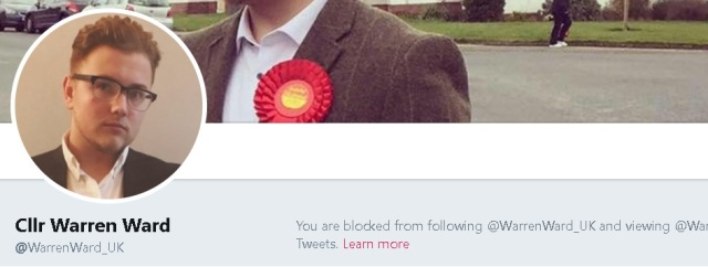 blocked by councillor warren ward on twitter