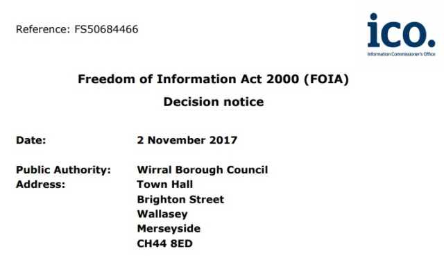 Wirral ICO decision notice FS50684466