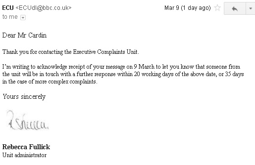 Response from BBC Executive Complaints Unit