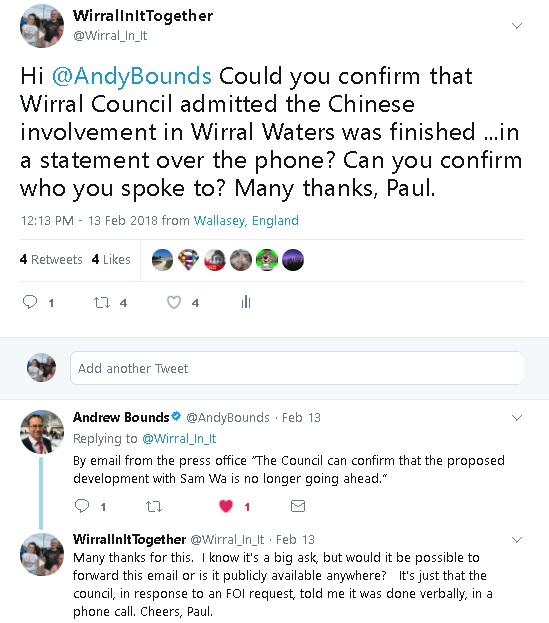 tweets between me and andy bounds of financial times on wirral waters for foi request