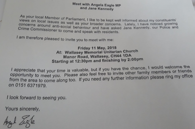 11 05 18 - angela eagle invatation to antisocial behaviour public meeting