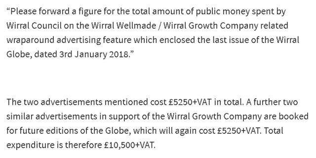 wirral council wraparaound ads cost and FOI request