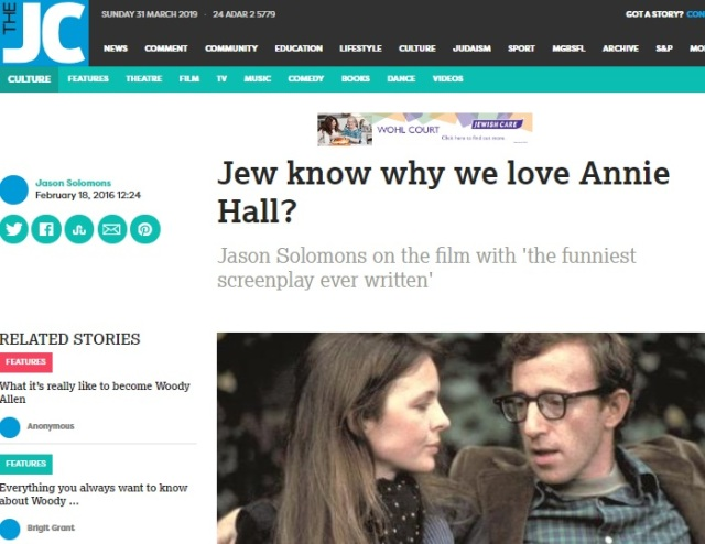 jewish chronicle Feb 18th 2016 - Jew know why we love Annie Hall