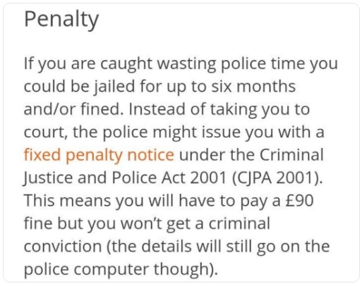 penalty for wasting police time