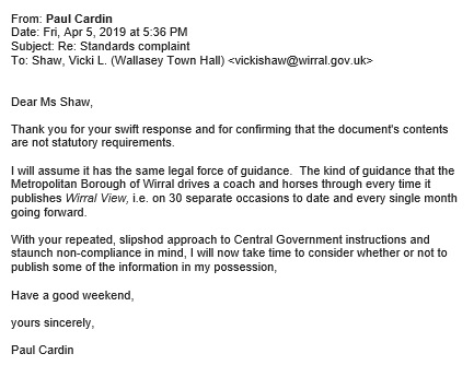 05 04 19 - email 2 to Vicki Shaw at Wirral Council