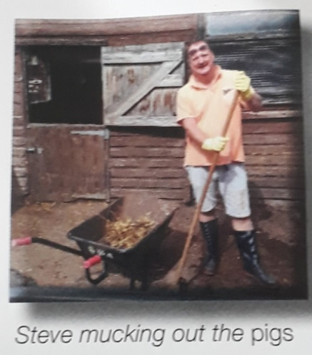 steve foulkes mucking out the pigs