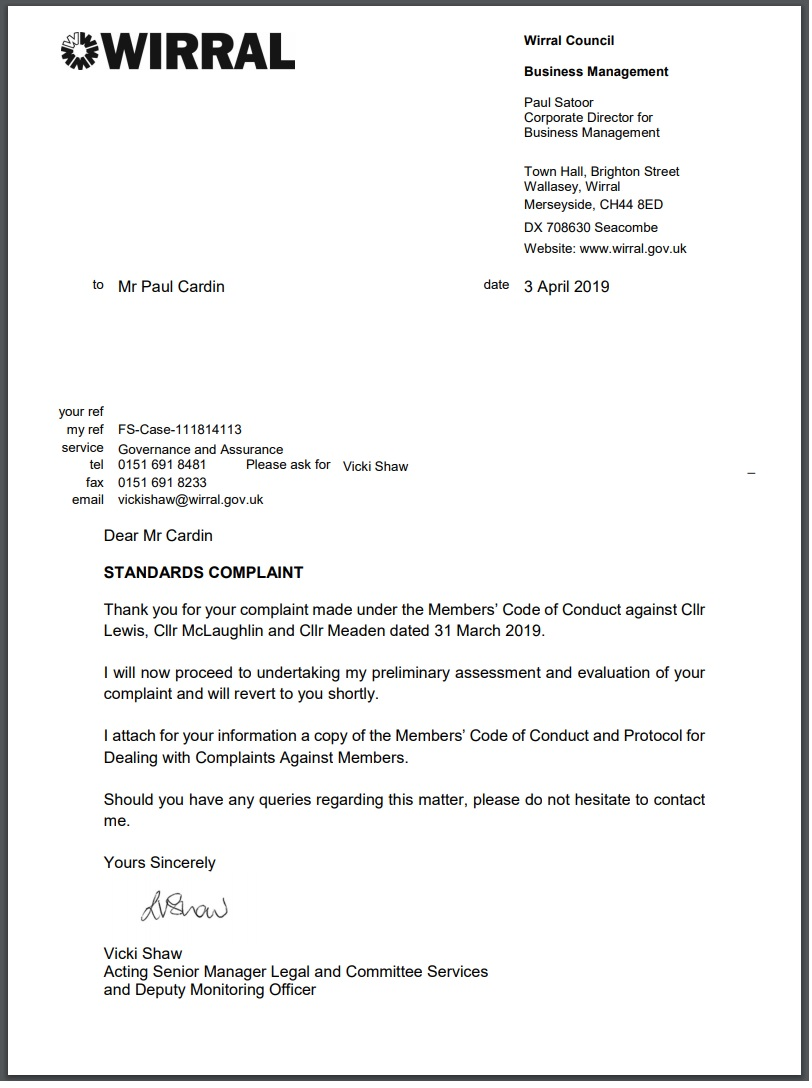antisemitism standards complaint vicki shaw wirral counci 3rd April 2019 response