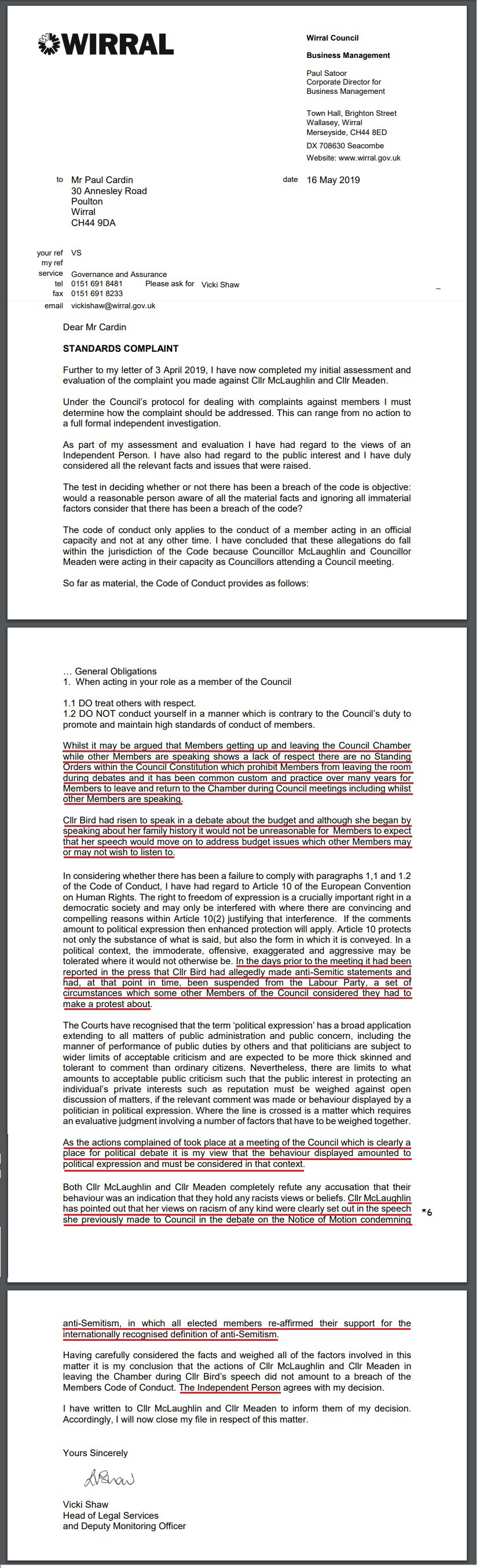 antisemitism standards complaint vicki shaw wirral council 16th May 2019 decision2
