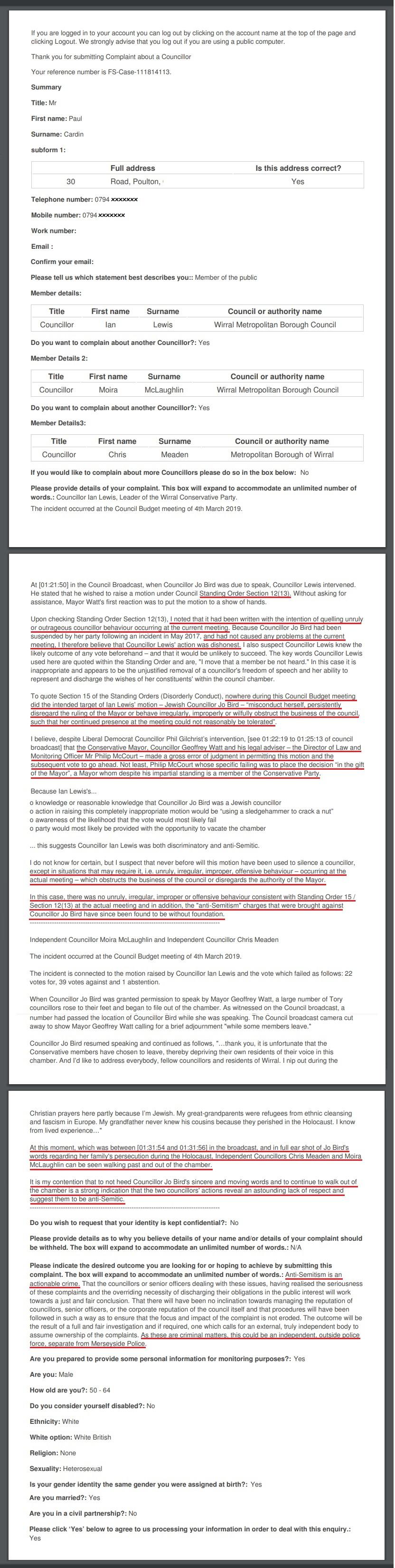 Wirral council standards complaint lewis mclaughlin meaden