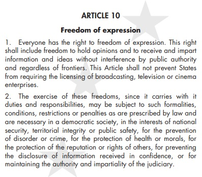 Article 10 EU Convention on Human Rights - freedom of expression