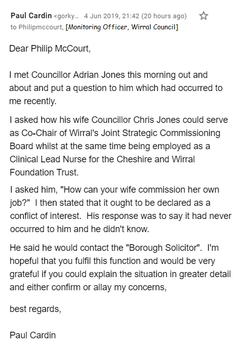 email to philip mccourt wirral council monitoring officer