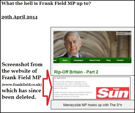 frank field the sun screenshot now deleted