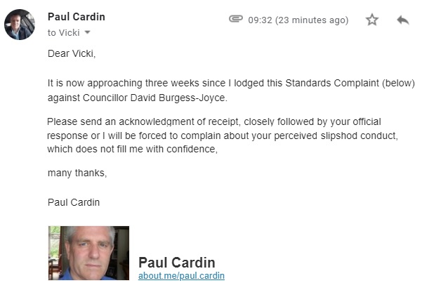 5th August 2019 - Burgess Joyce standards complaint reminder to Vicki Shaw