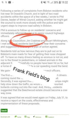 frank field crabtree post on his blog