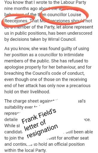 Frank field resignation letter