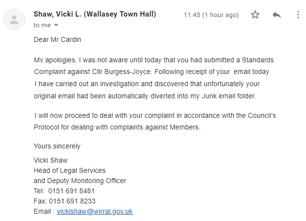 Vicki Shaw response to Burgess Joyce Standards Complaint 5th August 2019