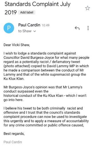 Burgess Joyce standards complaint on 17th July 2019
