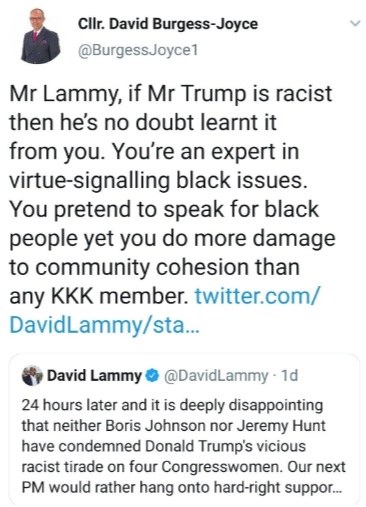 David Burgess Joyce - the offending tweet to David Lammy MP