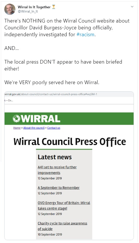 nothing on wirral council website about Burgess-Joyce racist tweet - 15 Sep 2019