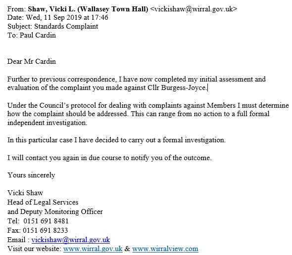 Vicki Shaw formal investigation response to Burgess Joyce Standards complaint 11th September 2019