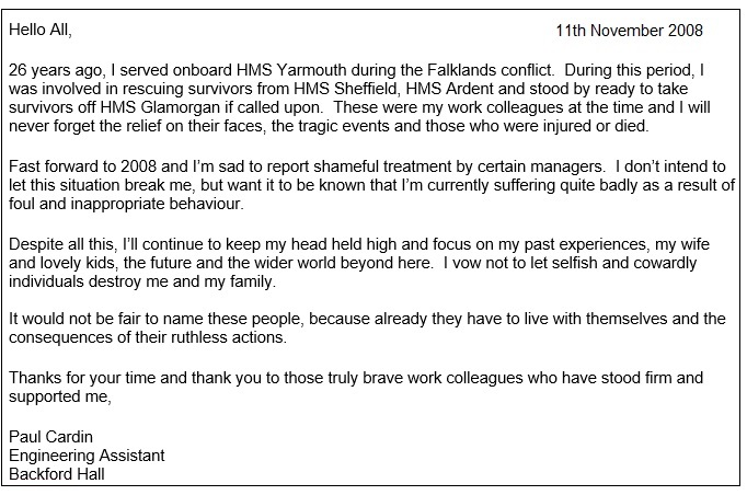 open letter to Cheshire West work colleagues November 2008