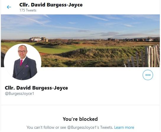 Burgess Joyce blocking us on Twitter