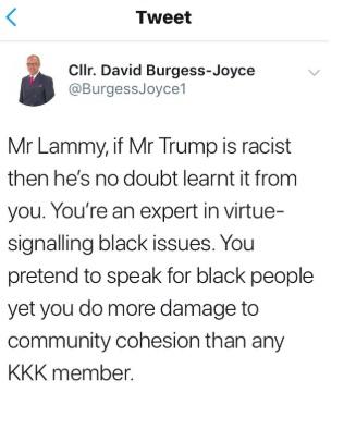 Burgess joyce offensive tweet