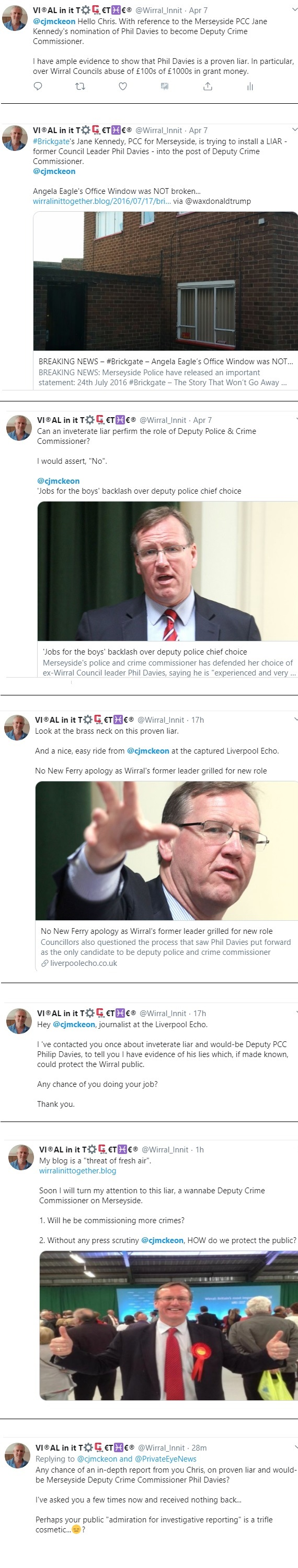 phil davies and cjmckeon echo tweets police crime commissioner