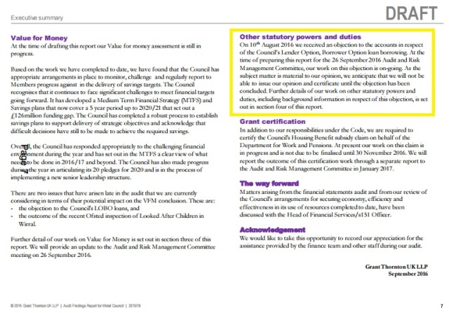 page 7 of Grant Thornton accounts report including objection received